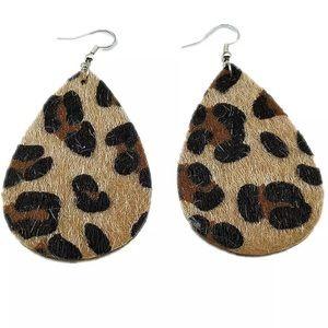 Jewelry - Vegan animal print fur teardrop earrings NEW